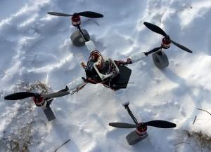 Quad on snow, before flight